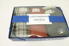 LUCKY Brand 3 Woven Boxers 100% Cotton Boxed  Red Blue skulls S 28-30 NIB NEW