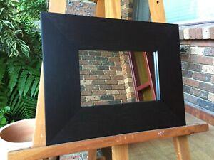Small Wall Mirror Dark Mocha Wood Frame 42cm x 33cm