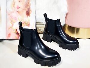 Ladies Chelsea Ankle Boots Womens Chunky Sole Block Heels Warm Winter Shoes Size