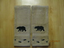 New 2 Silhouette Bear with TRACKS Tan Hand Towels, Northwoods cabin lodge decor.