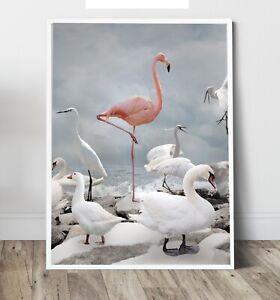 Flamingo -be a Flamingo print,  Wall Art Print, Canvas A4,A3,A2,A1,A0, On trend