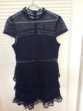 Romeo and Juliet Womens Couture Dress NEW Lace Sheer Navy Sz L Mini  Elegant