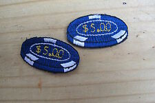 #3135B Lot 2Pcs Casino Poker Chips Vegas Embroidery Iron On Appliqué Patch