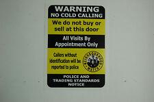 NO COLD CALLING CALLERS Salesman Window Door Warning Security Sticker