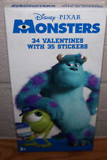 Valentines Day Cards (Box of 34) Disney Pixar Monsters with Stickers