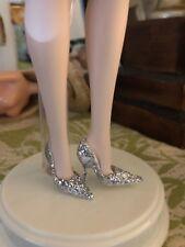 Shoes ~ Barbie Silkstone Blush Beauty Silver Glitter Pumps Fits Model Muse Heels
