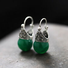 J.Lee Fine 925 Sterling Silver Stud Earrings With Green Chalcedony Stud Earrings