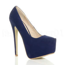 WOMENS LADIES HIGH HEEL EVENING PARTY CLUB CONCEALED PLATFORM COURT SHOES SIZE