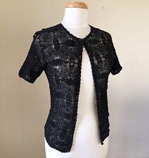 Vintage SHANGHAI Chinese BLACK Cotton HANDMADE Crochet CARDIGAN Jacket SIZE S