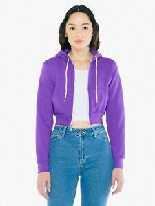 American Apparel Flex Fleece Cropped Zip Hooded Sweatshirt M Purple NEW F397W