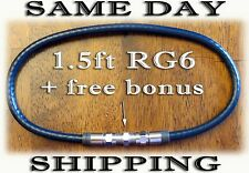 RG6 COAX CABLE WIRE 1.5 ft Black COAXIAL Jumper Cord HD TV DIGITAL ANTENNA CATV