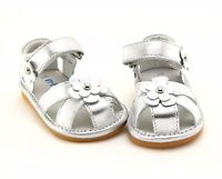 Freycoo Genuine Leather Kids Girls Shoes Sandals Silver sz: 5 6 7 8 9 10