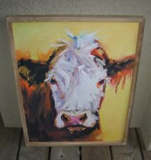 COW Earth Tones Wall PICTURE*Wood Frame*Primitive/French Country/Farmhouse Decor