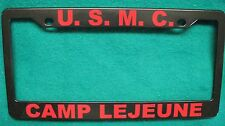 License Plate Frame-U.S.M.C./CAMP LEJEUNE, NC-Polished ABS-Black #3333R
