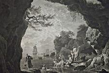 Baigneuses JOSEPH VERNET Eau forte Gravure BALECHOU Curiosa MARSEILLE ca 1757