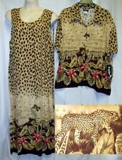 NWT Caribou 2x Dress Shirt 2 pc set Cheetah Safari Africa Long Maxi Shift Button