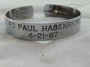 Vintage Vietnam War MIA POW Bracelet PFC PAUL HASENBECK 4-21-67
