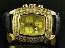 Aqua Master Ticino Chrono Yellow Gold 0.40ct Diamond Black Strap Watch W#26J