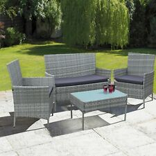 More details for 4 piece rattan outdoor furniture sofa set garden conservatory in black or grey