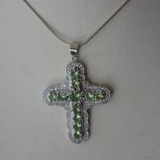 Beautiful Cross/Pendant With Green Tsavorite Garnet  Silver 7 Gr. 5 Cm. Long