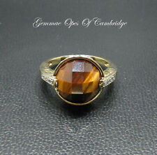 9K gold 9ct Gold Tigers Eye and Diamond Ring Size M 1/2 4.21g