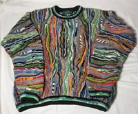 """Vintage Men's TUNDRA Canada Multi-Colored """"Coogi"""" Textured Sweater Large"""