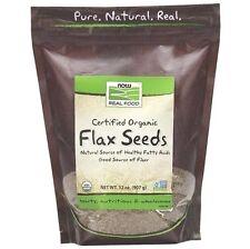 Now Foods Organic FLAX SEEDS - 32 oz (907 Grams) FIBER Omega 3 Fatty Acids