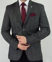 Vintage Men's Designer Cavani Herringbone Tweed Blazer Jacket -  Grey Checked