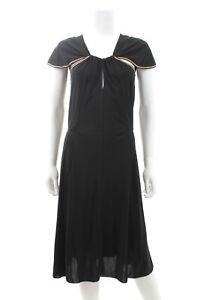 Saint Laurent Cut-Out Jersey-Crepe Dress / Black