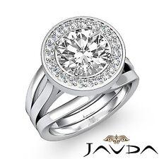 3 Row Shank Round Diamond Engagement Halo Ring GIA F VVS2 14k White Gold 1.4ct