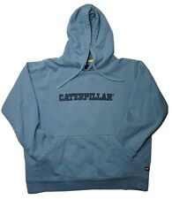 CAT Caterpillar Spell out Hooded Pullover Sweater in Blue Mens in Size L