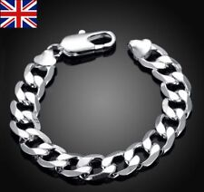 Mens chunky 925 solid sterling silver filled curb chain link 12mm bracelet Gift