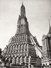 1934 Vintage 11x14 THAILAND Bangkok Wat Arun Temple Architecture Art ~ HURLIMANN