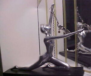 Rare Art Deco Style Modernistic Nude Lady Chrome Metal Statue on Geometric Base