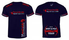 The Danny Gamble Squash Open 2020 T-Shirt- Navy & Red/Silver