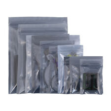 More details for 100x strong anti-static gripseal zipper bags flat pouch transparent grey
