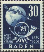 Franz. Zone-Baden 57 gestempelt 1949 Weltpostverein