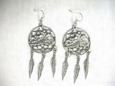 USA PEWTER FAT BOY MOTORCYCLE DREAM CATCHER DANGLING PENDANT EARRINGS LADY RIDER