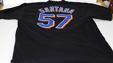 New York Mets Johan Santana #57 Majestic Black Men's Jersey T Shirt Size XL