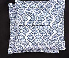 2 PC Indian Abstract Print Cushion Cover Cotton Throw Bedding Sofa Sham Decor
