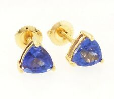 18carat Yellow Gold Tanzanite 2 00ct Trillion Cut Stud Earrings Backs