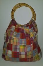 Jcrew red pink blue cotton madras plaid bamboo ring tassel handle handbag purse