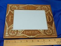 Fire Fighters FD Department Stamped Carved Inlaid Wood Picture Frame 4.5x6.5