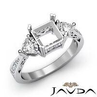 3 Stone Diamond Wedding Filigree Ring Princess Semi Mount 14k White Gold 0.82Ct