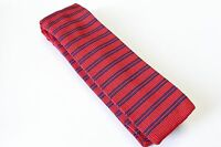 "NWT Men's Club Room CR Knit Neck Tie Slim Skinny 2"" Red Navy Stripe 57"" Length"