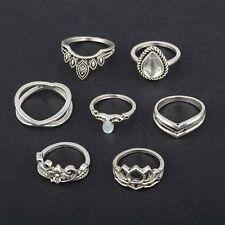 7pc Boho Hollow Flower Plain Women Above Knuckle Ring Finger Tip Rings Silver CC