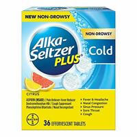 Cold Citrus effervescent Tablets,Citrus,Alka-Seltzer Plus 36Count for Fever pain