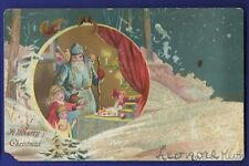 Blue Robe Santa Backpack of Toys with 2 little Girls Vintage Christmas Postcard