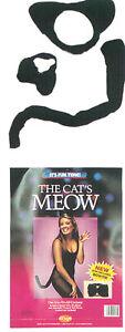 ADULT BLACK KITTY CAT KIT FELINE ANIMAL EARS BOW TIE TAIL COSTUME KIT FW9131