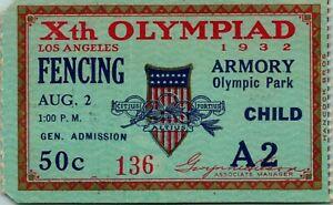 1932 Olympics Xth Olympiad Child Fencing Ticket Stub #136